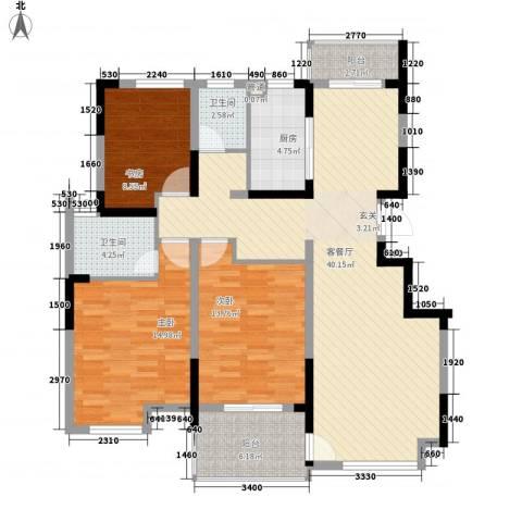 苹果园・幸福城3室1厅2卫1厨140.00㎡户型图