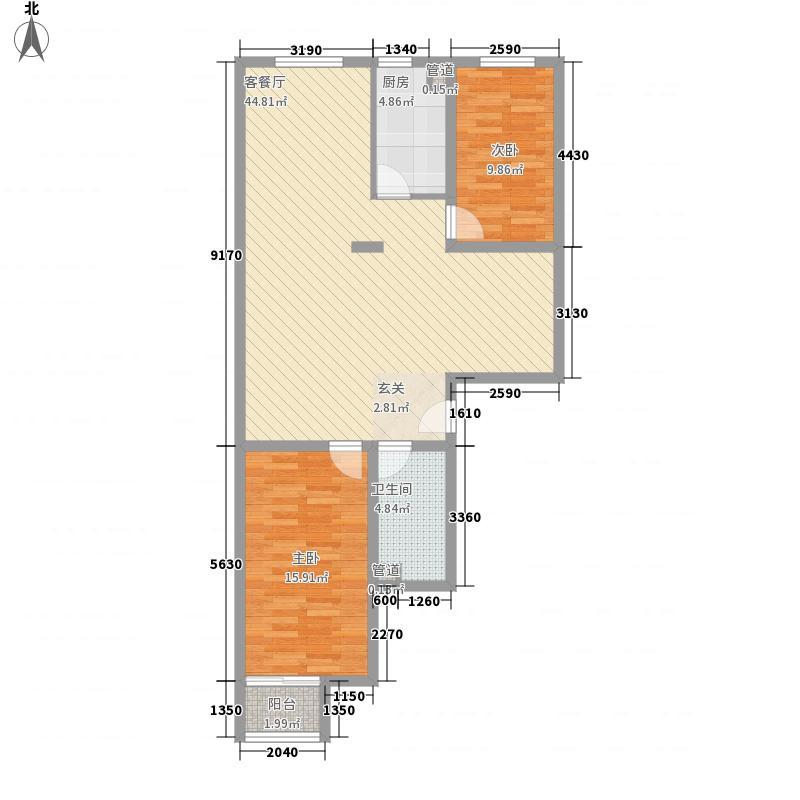 华天文苑116.20㎡1#4户型3室2厅1卫1厨
