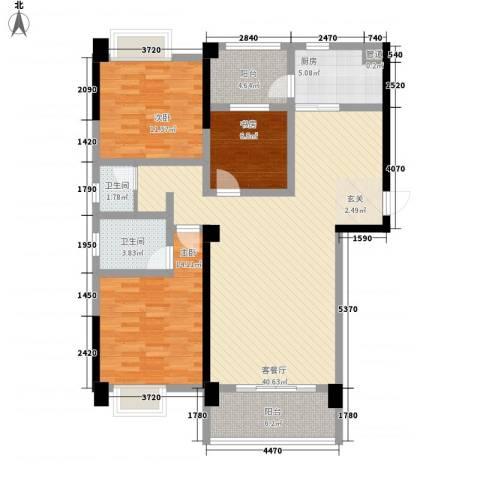 柠溪大厦3室1厅2卫1厨94.66㎡户型图
