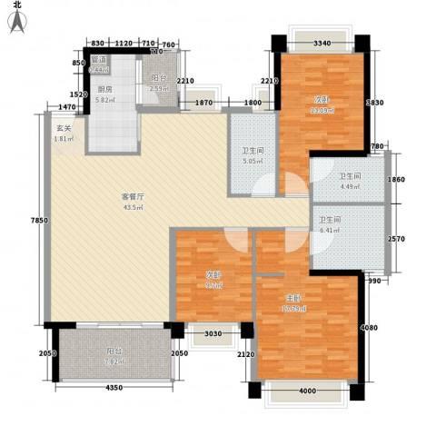 汇峰国际公寓3室1厅3卫1厨165.00㎡户型图