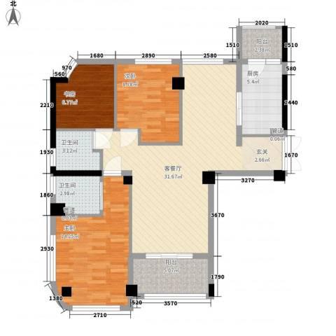 雅戈尔湖景花园3室1厅2卫1厨116.00㎡户型图
