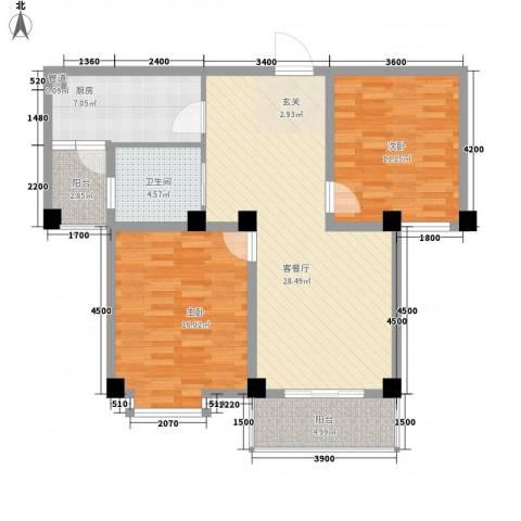 德邦翠馨居2室1厅1卫1厨96.00㎡户型图