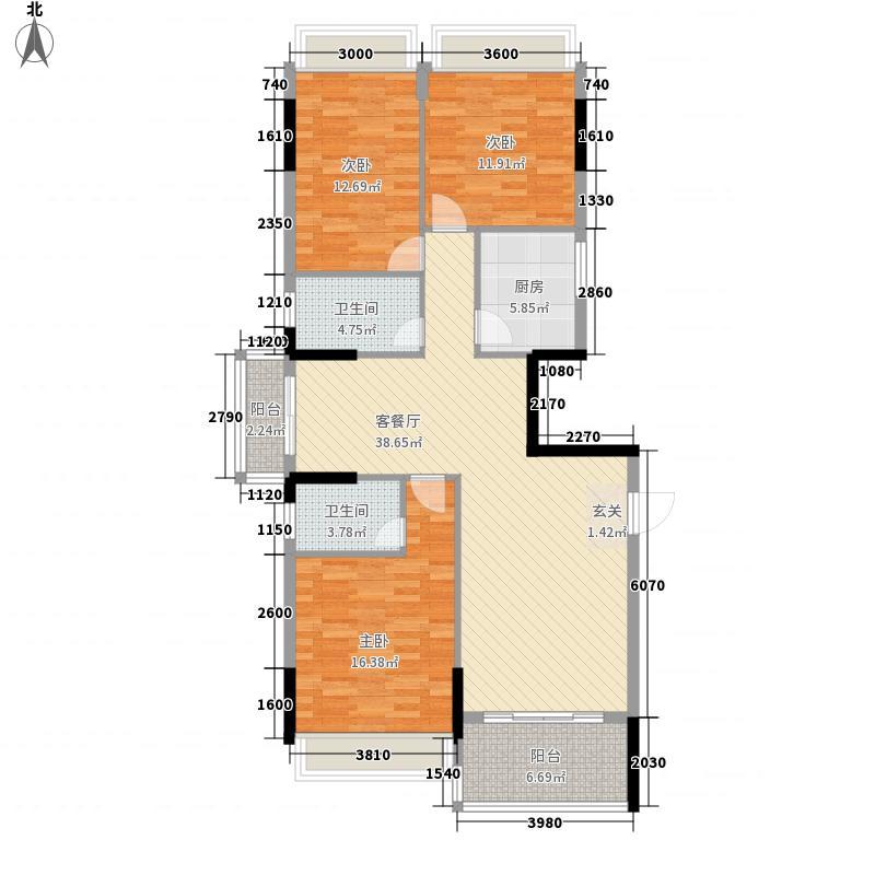 台山・骏景园135.14㎡一期骏逸轩a座标准层01户型3室2厅2卫1厨