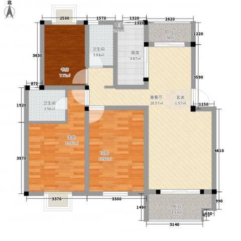 苹果园・幸福城3室1厅2卫1厨120.00㎡户型图
