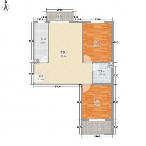 大业时代广场2室1厅1卫1厨97.00㎡户型图