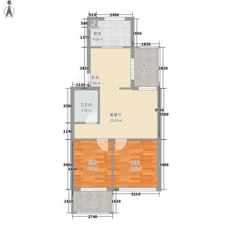 绿杨新苑2室1厅1卫1厨82.00㎡户型图