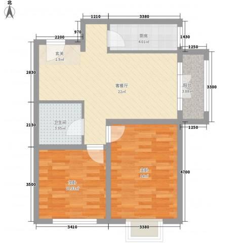 新加坡花园2室1厅1卫1厨83.00㎡户型图