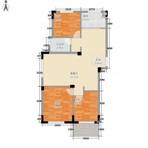东方巴黎城3室1厅1卫1厨81.34㎡户型图
