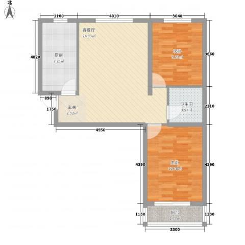 都市馨居2室1厅1卫1厨87.00㎡户型图