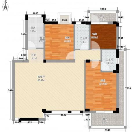 苹果园・幸福城3室1厅2卫1厨112.00㎡户型图