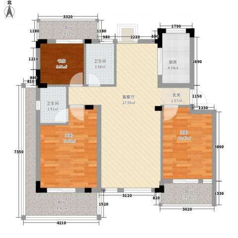 苹果园・幸福城3室1厅2卫1厨118.00㎡户型图