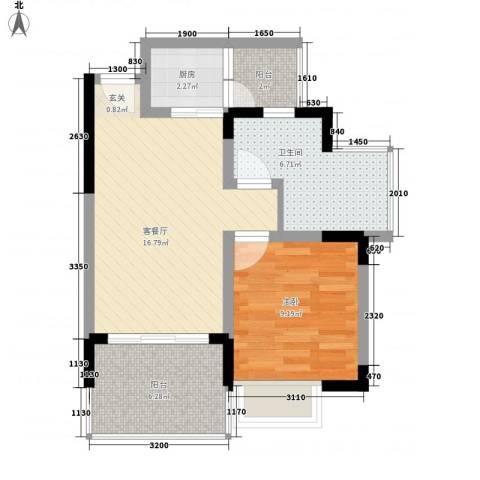 衍宏美丽春天4期1室1厅1卫1厨54.00㎡户型图