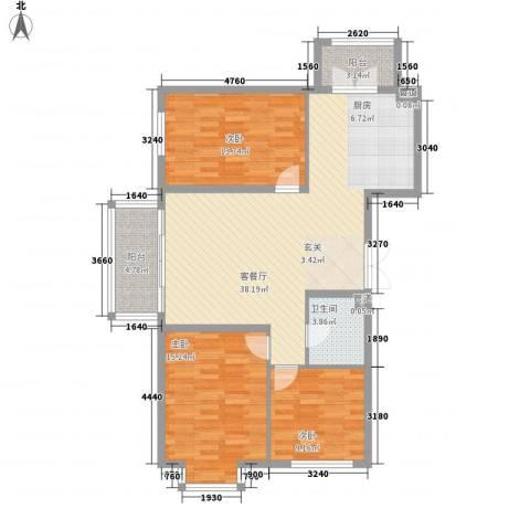 海富金棕榈3室1厅1卫0厨88.24㎡户型图