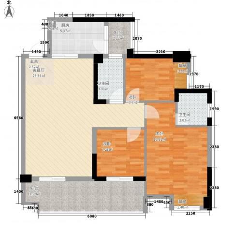 保利林语3室1厅2卫1厨86.25㎡户型图