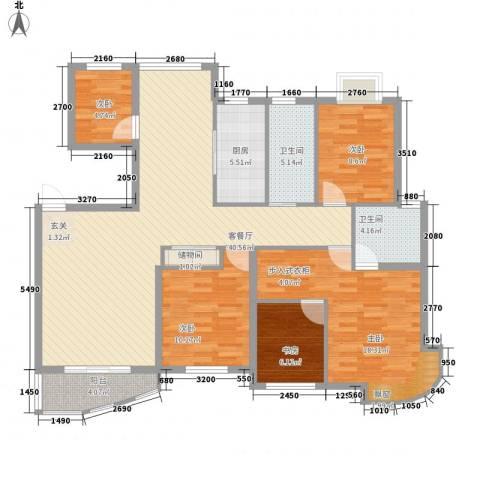 万马滨河城5室1厅2卫1厨153.00㎡户型图