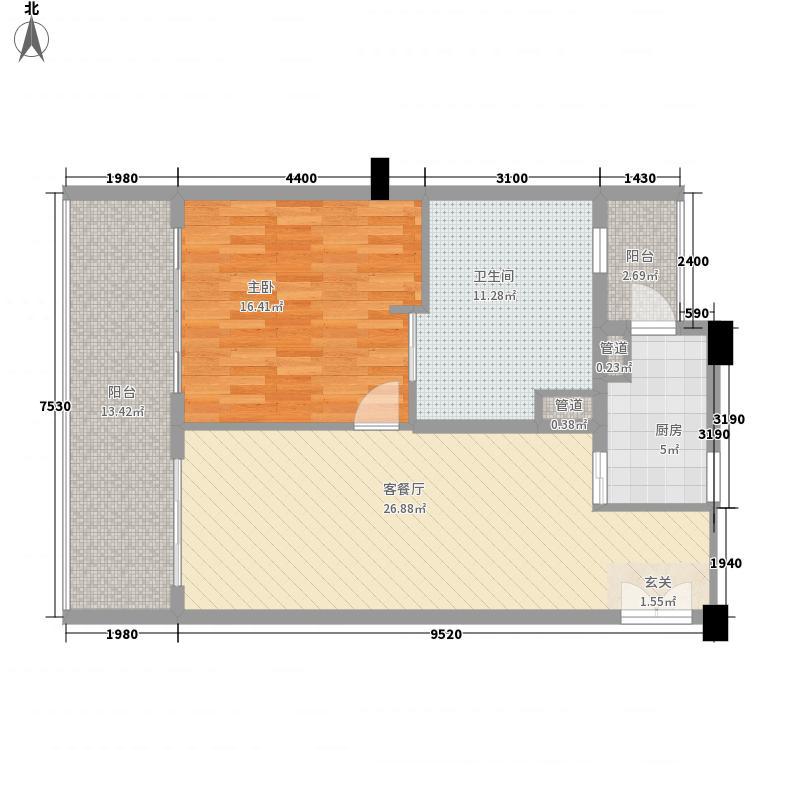 隆源神州半岛2.00㎡二期听涛苑C户型1室2厅1卫1厨