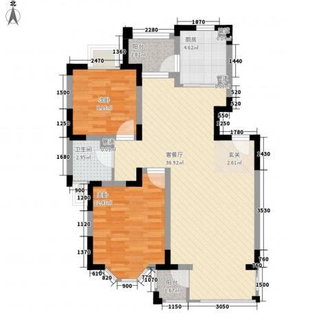 茗园天府2室1厅1卫1厨100.00㎡户型图