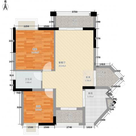 东林美域2室1厅1卫1厨79.00㎡户型图