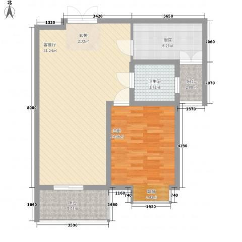 东方花园1室1厅1卫1厨89.00㎡户型图