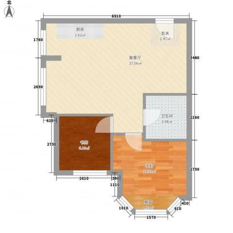 中粮晓悦公馆2室1厅1卫0厨72.00㎡户型图