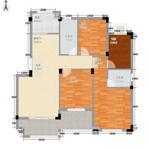 东方巴黎城4室1厅2卫1厨125.00㎡户型图