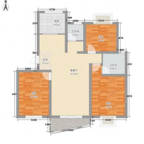 万马滨河城3室1厅2卫1厨116.00㎡户型图