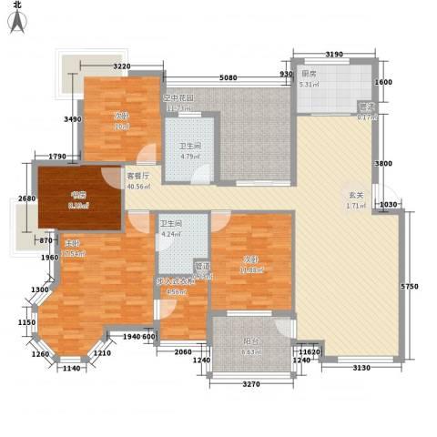 金水童话名苑4室1厅2卫1厨125.83㎡户型图