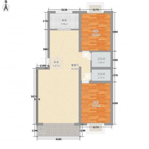 恒富安花园2室1厅2卫1厨104.00㎡户型图