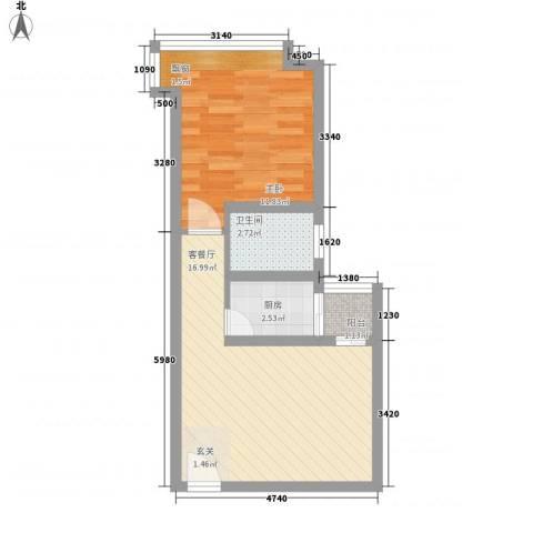 宝安江南城1室1厅1卫1厨50.00㎡户型图