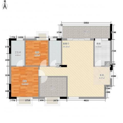 新长江顺心居2室1厅2卫1厨84.49㎡户型图