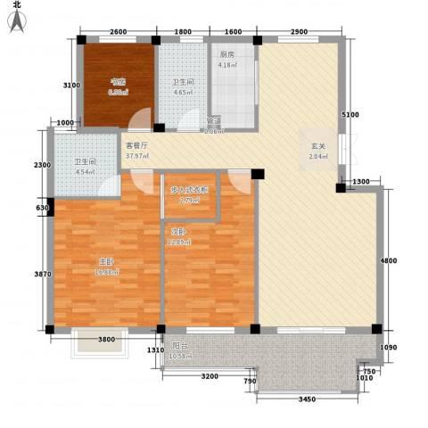 东方巴黎城3室1厅2卫1厨122.00㎡户型图