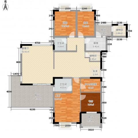美好家园别墅4室1厅2卫1厨165.00㎡户型图
