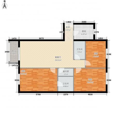 碧水星阁3室1厅2卫1厨147.00㎡户型图