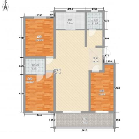 桃园雅居3室1厅2卫1厨138.00㎡户型图