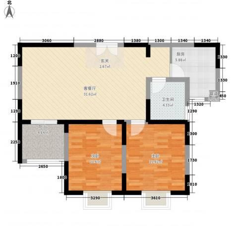 我家山水2室1厅1卫1厨71.16㎡户型图