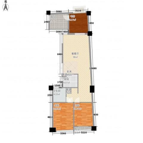 绿城皇冠花园3室1厅1卫1厨125.00㎡户型图