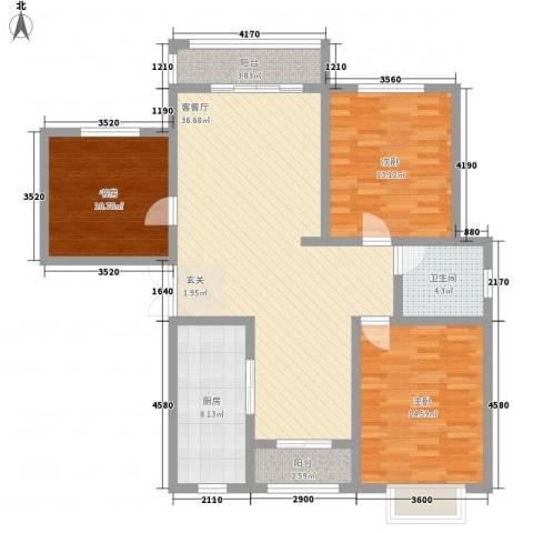 武汉大厦3室1厅1卫1厨135.00㎡户型图