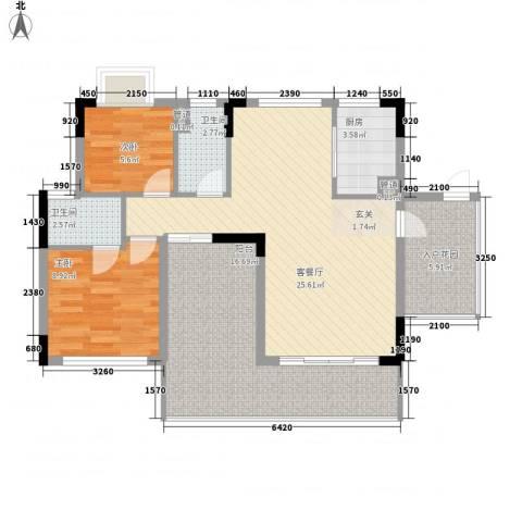 鼎湖森邻2室1厅2卫1厨102.00㎡户型图