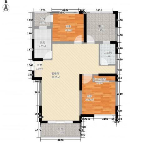 大华梧桐城邦2室1厅1卫1厨105.00㎡户型图