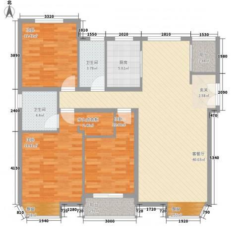 星光山水3室1厅2卫1厨111.67㎡户型图