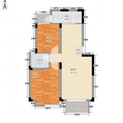 大华梧桐城邦2室1厅1卫1厨86.00㎡户型图