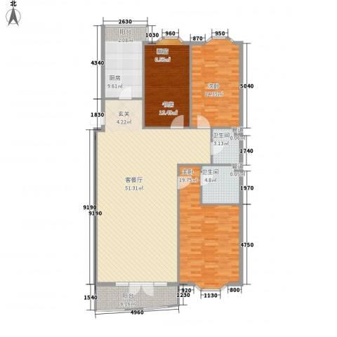铭钻家园3室1厅2卫1厨122.73㎡户型图