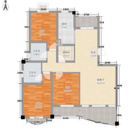 文化花园明珠苑3室1厅2卫1厨139.00㎡户型图
