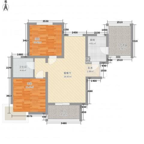 滨湖世纪城福徽苑2室1厅1卫1厨100.00㎡户型图