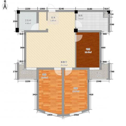 勤德家园3室1厅1卫1厨119.00㎡户型图