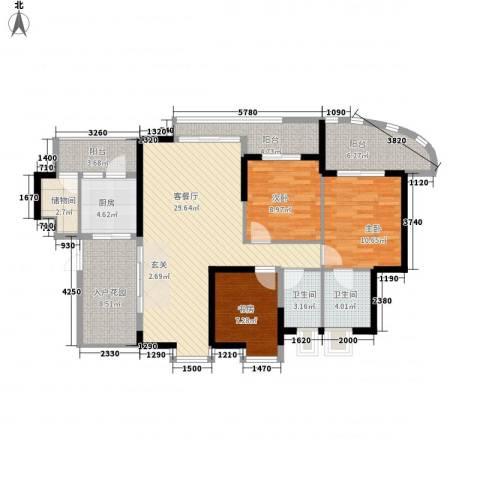 湖滨壹号3室1厅2卫1厨137.00㎡户型图