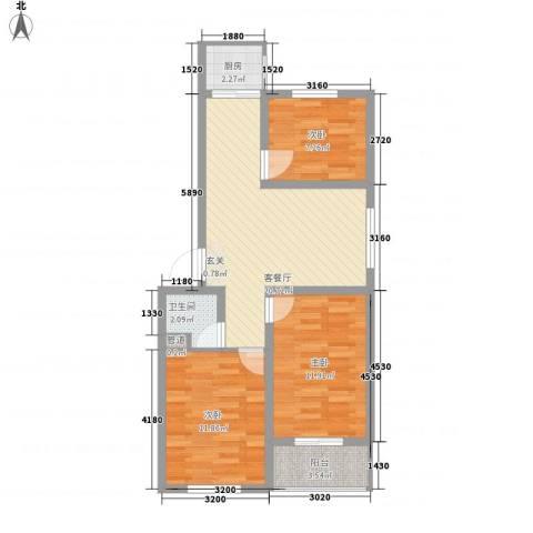 福星家园3室1厅1卫1厨87.00㎡户型图