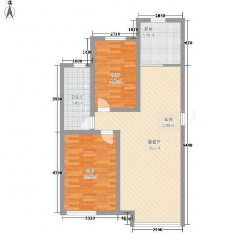 新华壹品2室1厅1卫1厨96.00㎡户型图