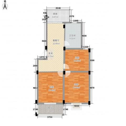谷阳新村四区3室1厅1卫1厨125.00㎡户型图
