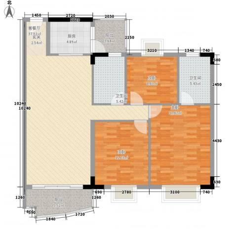 骏马山庄三期3室1厅2卫1厨137.00㎡户型图